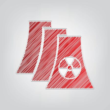 Nuclear power plant sign. Red gradient scribble Icon with artistic contour gray String on light gray Background. Illustration