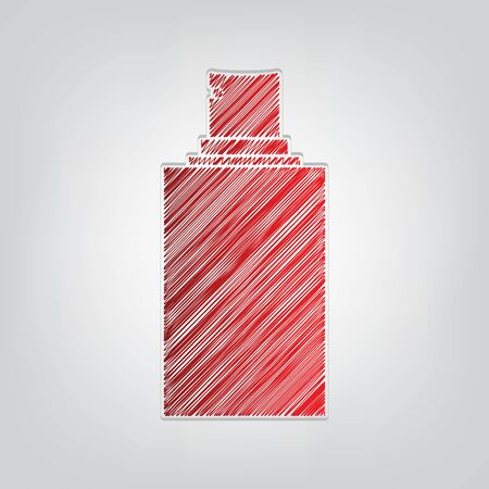 Spray sign. Red gradient scribble Icon with artistic contour gray String on light gray Background.
