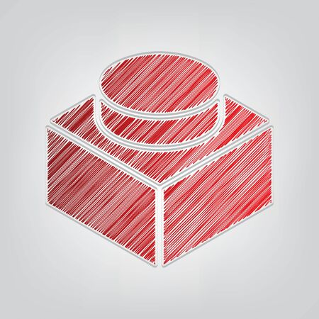 Black thin line building toy sign. Red gradient scribble Icon with artistic contour gray String on light gray Background.