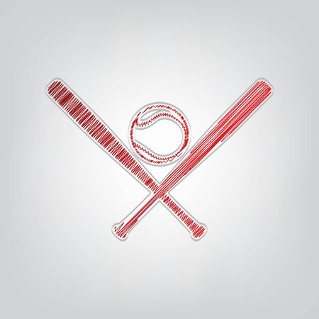 Baseball sign. Red gradient scribble Icon with artistic contour gray String on light gray Background. Illusztráció