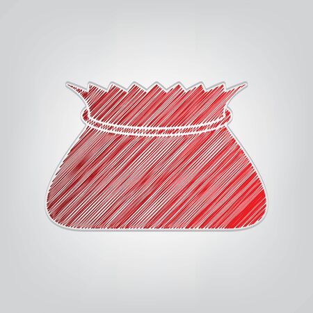 Tied pouch bag sign. Red gradient scribble Icon with artistic contour gray String on light gray Background.