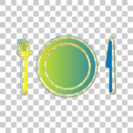 Fork, plate and knife. Blue to green gradient Icon with Four Roughen Contours on stylish transparent Background. Illustration.