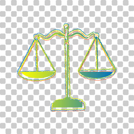 Scales balance sign. Blue to green gradient Icon with Four Roughen Contours on stylish transparent Background. Illustration. Ilustrace