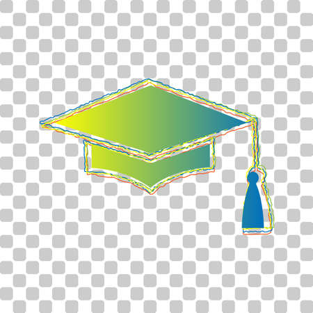Mortar Board or Graduation Cap, Education symbol. Blue to green gradient Icon with Four Roughen Contours on stylish transparent Background. Illustration. Ilustrace