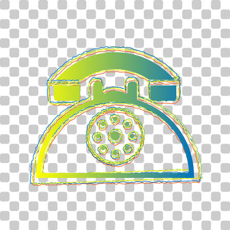 Retro telephone sign. Blue to green gradient Icon with Four Roughen Contours on stylish transparent Background. Illustration.
