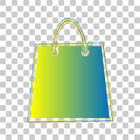 Shopping bag illustration. Blue to green gradient Icon with Four Roughen Contours on stylish transparent Background. Illustration. Ilustrace