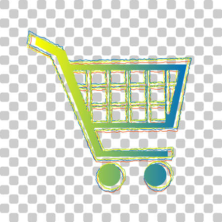 Shopping cart sign. Blue to green gradient Icon with Four Roughen Contours on stylish transparent Background. Illustration.