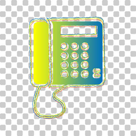 Communication or phone sign. Blue to green gradient Icon with Four Roughen Contours on stylish transparent Background. Illustration.