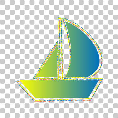 Sail Boat sign. Blue to green gradient Icon with Four Roughen Contours on stylish transparent Background. Illustration.