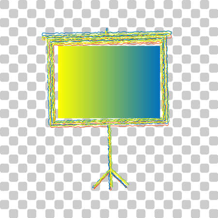 Blank Projection screen. Blue to green gradient Icon with Four Roughen Contours on stylish transparent Background. Illustration.