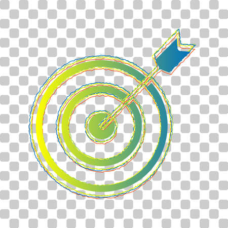 Target with dart. Blue to green gradient Icon with Four Roughen Contours on stylish transparent Background. Illustration.