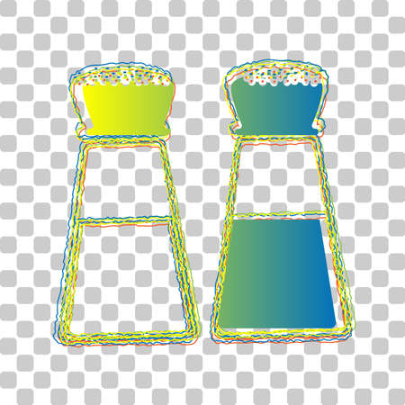 Salt and pepper sign. Blue to green gradient Icon with Four Roughen Contours on stylish transparent Background. Illustration. Ilustrace
