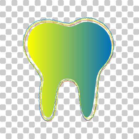 Tooth sign illustration. Blue to green gradient Icon with Four Roughen Contours on stylish transparent Background. Illustration.