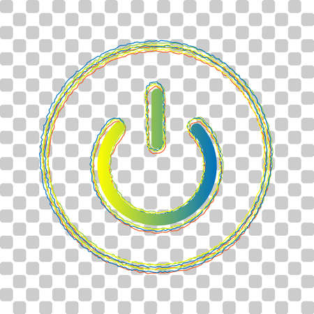 On Off switch sign. Blue to green gradient Icon with Four Roughen Contours on stylish transparent Background. Illustration.