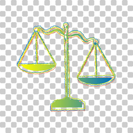 Scales of Justice sign. Blue to green gradient Icon with Four Roughen Contours on stylish transparent Background. Illustration.