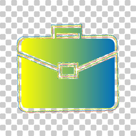 Briefcase sign illustration. Blue to green gradient Icon with Four Roughen Contours on stylish transparent Background. Illustration.