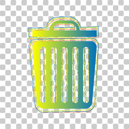 Trash sign illustration. Blue to green gradient Icon with Four Roughen Contours on stylish transparent Background. Illustration.