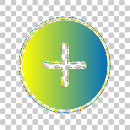 Positive symbol plus sign. Blue to green gradient Icon with Four Roughen Contours on stylish transparent Background. Illustration. Ilustrace