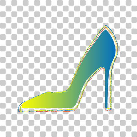 Woman shoe sign. Blue to green gradient Icon with Four Roughen Contours on stylish transparent Background. Illustration.
