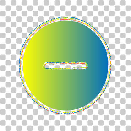 Negative symbol illustration. Minus sign. Blue to green gradient Icon with Four Roughen Contours on stylish transparent Background. Illustration.