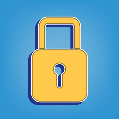 Lock sign illustration. Golden Icon with White Contour at light blue Background. Illustration.