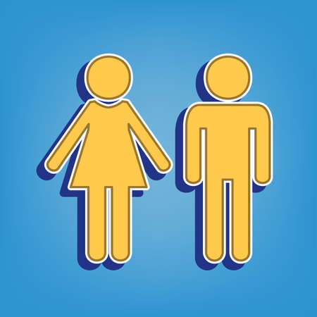 Male and female sign. Golden Icon with White Contour at light blue Background. Illustration.