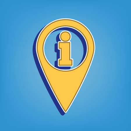Map pointer with information sign. Golden Icon with White Contour at light blue Background. Illustration.