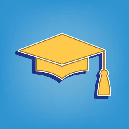 Mortar Board or Graduation Cap, Education symbol. Golden Icon with White Contour at light blue Background. Illustration.