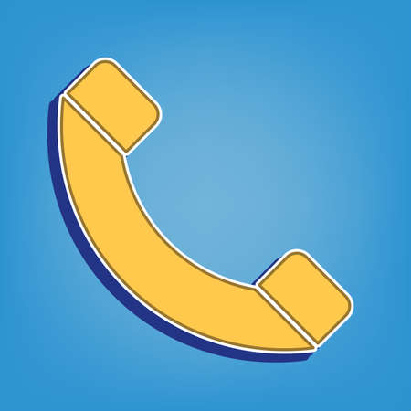 Phone sign illustration. Golden Icon with White Contour at light blue Background. Illustration. Ilustrace