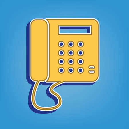 Communication or phone sign. Golden Icon with White Contour at light blue Background. Illustration. Ilustrace