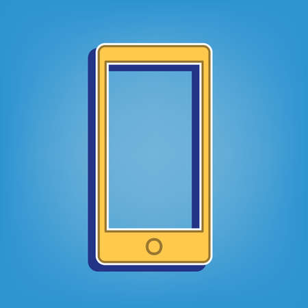 Modern gadget with blank screen. Golden Icon with White Contour at light blue Background. Illustration.