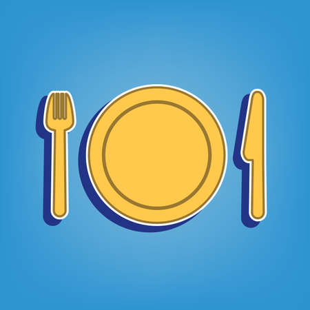 Fork, plate and knife. Golden Icon with White Contour at light blue Background. Illustration.