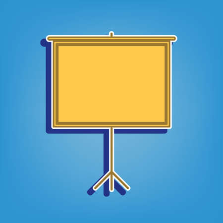 Blank Projection screen. Golden Icon with White Contour at light blue Background. Illustration.