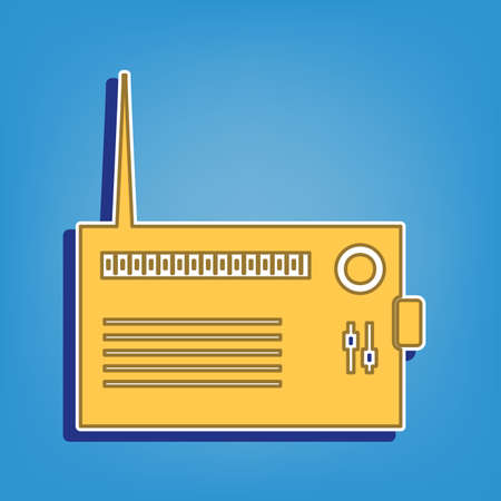 Radio sign illustration. Golden Icon with White Contour at light blue Background. Illustration.