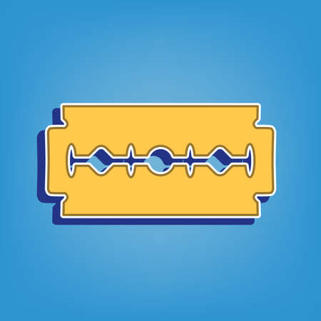Razor blade sign. Golden Icon with White Contour at light blue Background. Illustration.