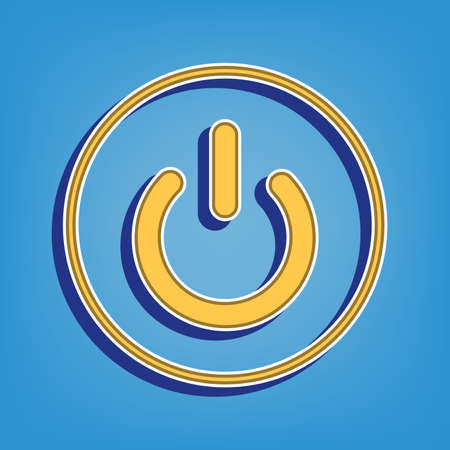 On Off switch sign. Golden Icon with White Contour at light blue Background. Illustration.