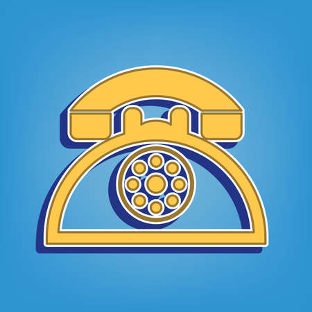 Retro telephone sign. Golden Icon with White Contour at light blue Background. Illustration.