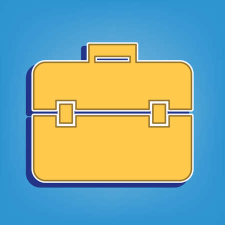 Briefcase sign illustration. Golden Icon with White Contour at light blue Background. Illustration.