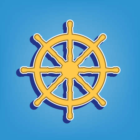 Ship wheel sign. Golden Icon with White Contour at light blue Background. Illustration.