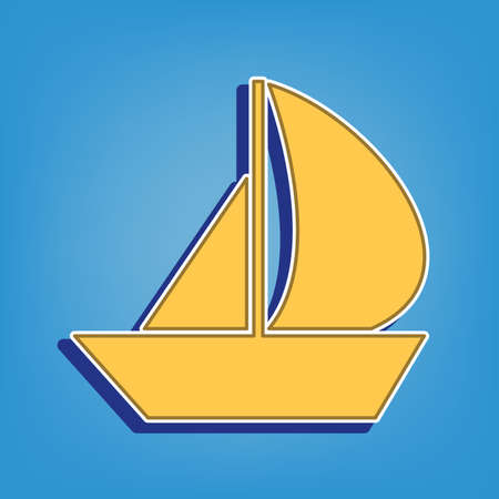 Sail Boat sign. Golden Icon with White Contour at light blue Background. Illustration.
