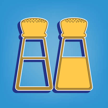 Salt and pepper sign. Golden Icon with White Contour at light blue Background. Illustration.