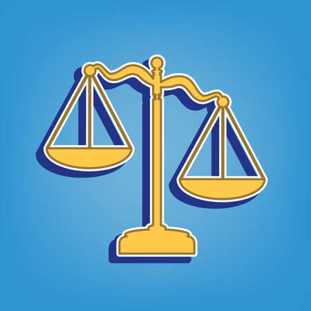 Scales of Justice sign. Golden Icon with White Contour at light blue Background. Illustration. Ilustrace