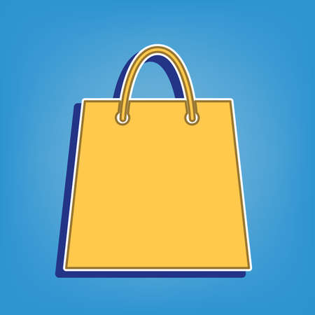 Shopping bag illustration. Golden Icon with White Contour at light blue Background. Illustration. Ilustrace