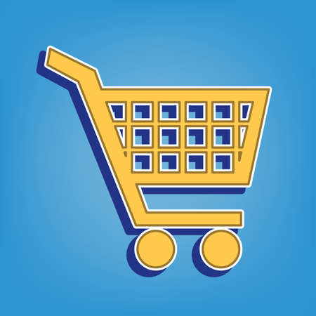 Shopping cart sign. Golden Icon with White Contour at light blue Background. Illustration.