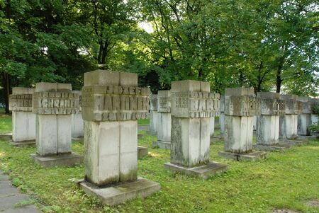 white obelisk in old cemetery under old trees photo