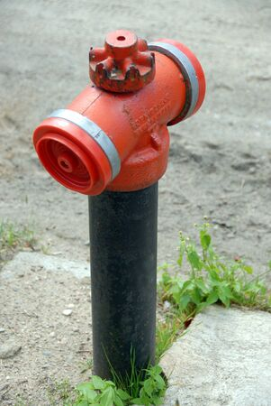 rusting: A red fire hydrant rarely seen in Poland Stock Photo