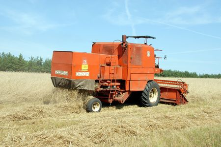 subsidy: red combine harvester harvesting a grain field