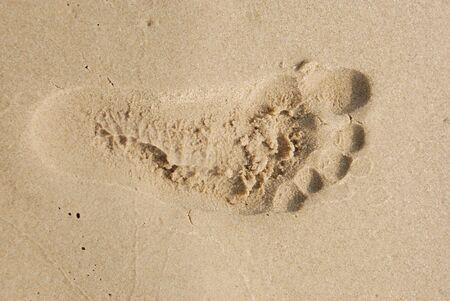 Einbuchtung: Pr�senz in den Sand am Strand an einem hei�en, sonnigen Tag