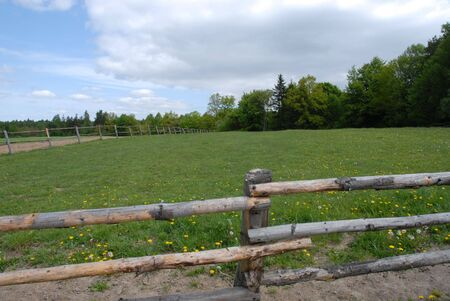 fenced in: Fenced in cow pasture on small farm in Stock Photo