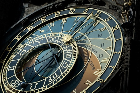 The famous astronomical clock of the old Prague s town hall with the signs photo